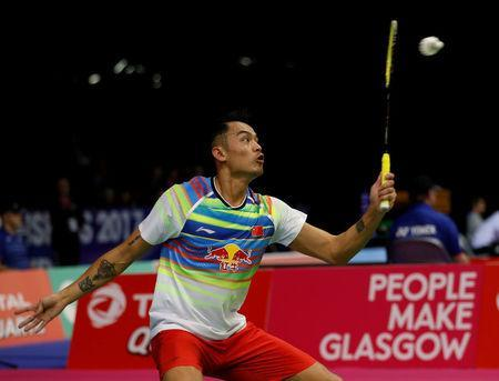 Badminton - Badminton World Championships - Glasgow, Britain - August 21, 2017 China's Lin Dan in action against Scotland's Kieran Merrilees REUTERS/Russell Cheyne