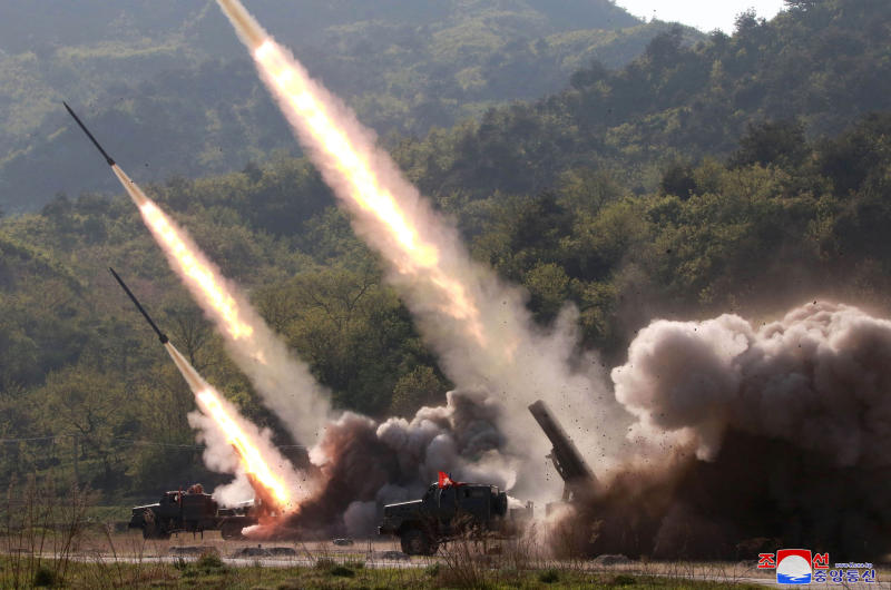 """This Thursday, May 9, 2019, photo provided Friday, May 10, 2019, by the North Korean government shows a test of military weapon systems in North Korea. North Korea fired two suspected short-range missiles toward the sea on Thursday, South Korean officials said, its second weapons launch in five days and a possible warning that nuclear disarmament talks with Washington could be in danger. Independent journalists were not given access to cover the event depicted in this image distributed by the North Korean government. The content of this image is as provided and cannot be independently verified. Korean language watermark on image as provided by source reads: """"KCNA"""" which is the abbreviation for Korean Central News Agency. (Korean Central News Agency/Korea News Service via AP)"""