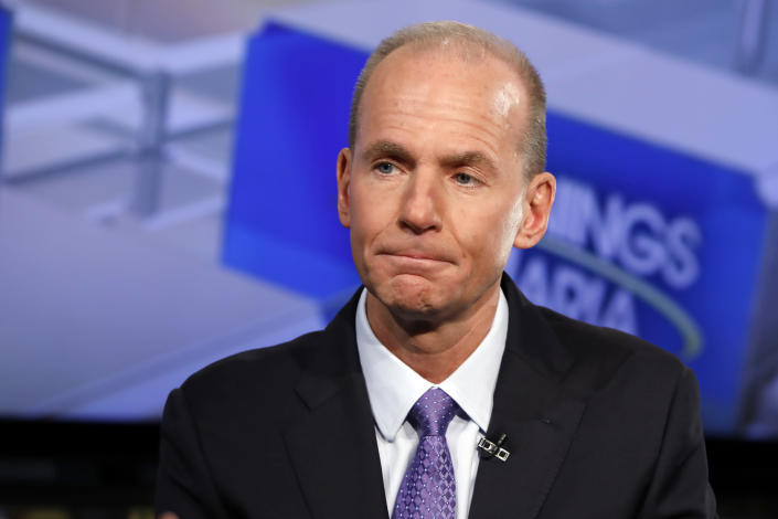 """Boeing CEO Dennis Muilenburg is interviewed by Maria Bartiromo during her """"Mornings with Maria Bartiromo"""" program on the Fox Business Network, in New York Tuesday, Nov. 13, 2018. (AP Photo/Richard Drew)"""