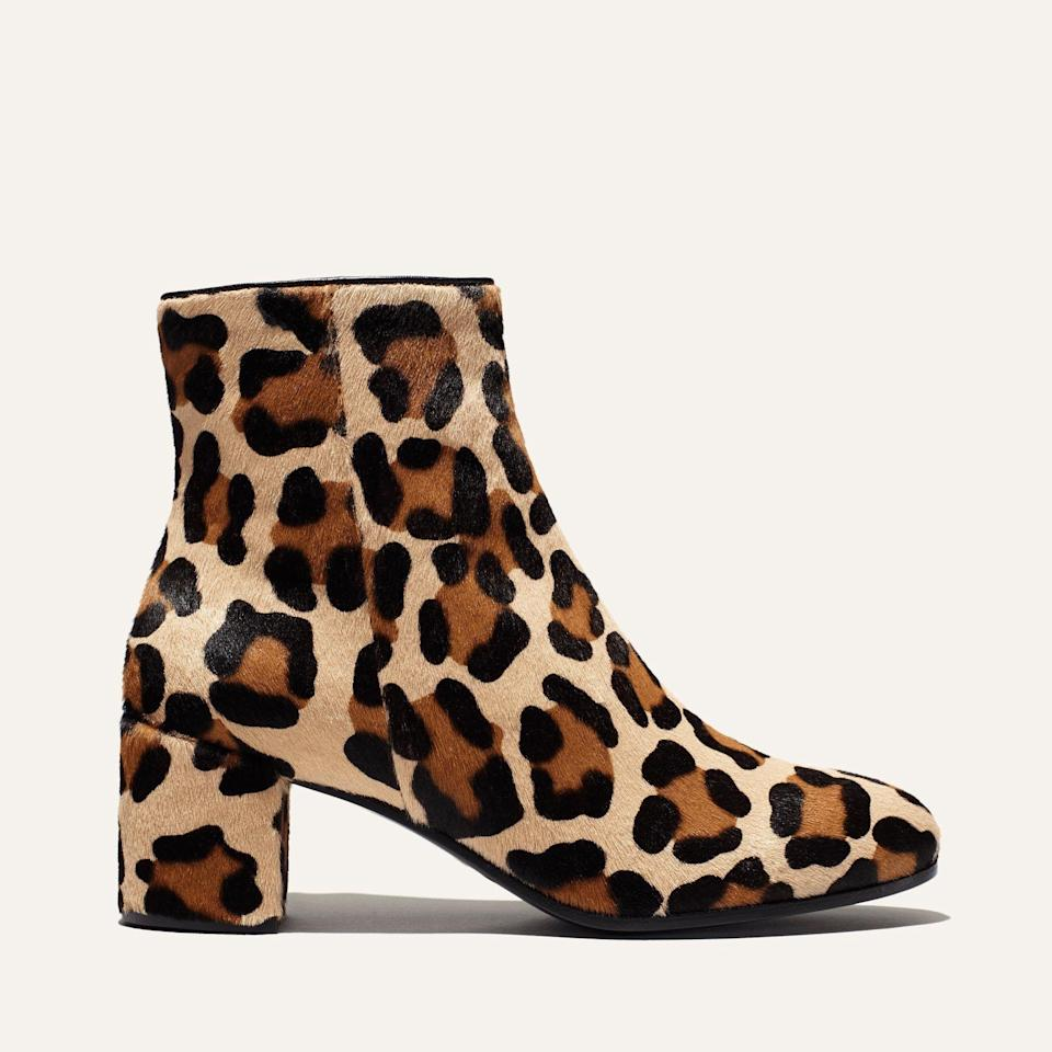 """<p><strong>Margaux </strong></p><p>margauxsamplesale.com</p><p><a href=""""https://margauxsamplesale.com/collections/frontpage/products/the-boot-leopard-haircalf"""" rel=""""nofollow noopener"""" target=""""_blank"""" data-ylk=""""slk:SHOP IT"""" class=""""link rapid-noclick-resp"""">SHOP IT </a></p><p><del>$395</del><strong><br>$199</strong></p><p>Believe it or not, fall will be here before you know it. Get a head start on your cold-weather shopping with this cute pair of leopard print boots.</p>"""