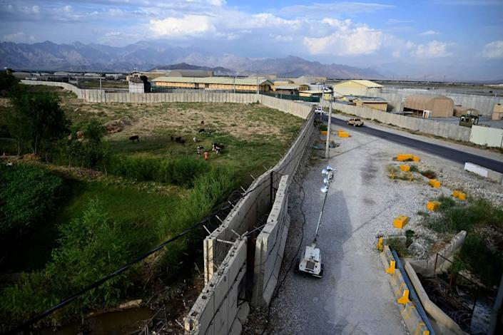 Overview of the Bagram air base with walls and structures