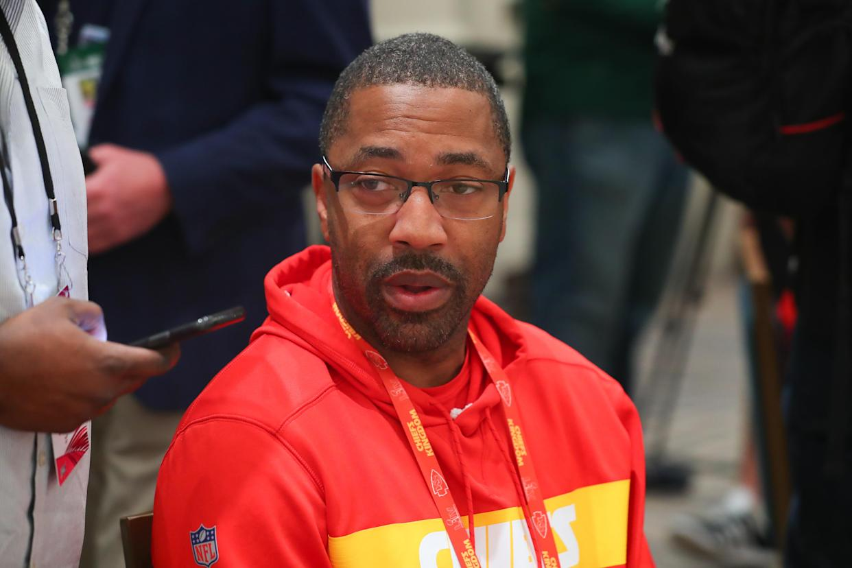 What Cleveland Browns safety Ronnie Harrison did Sunday wasn't appropriate. But Kansas City Chiefs assistant coach Greg Lewis (pictured) can't be allowed to escape from the incident unscathed, either. (Photo by Rich Graessle/PPI/Icon Sportswire via Getty Images)
