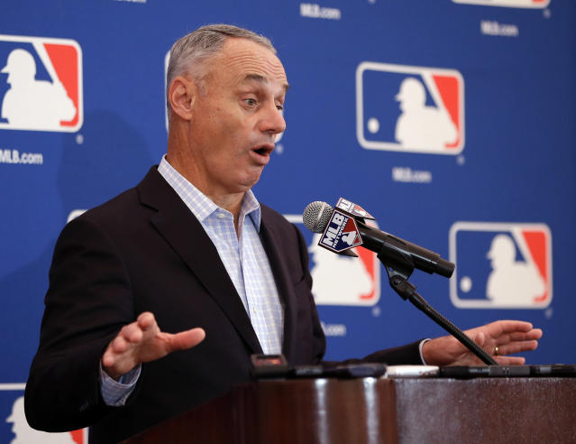 Rob Manfred talks pace-of-play changes and other things at the quarterly MLB owners meetings. (AP Photo)