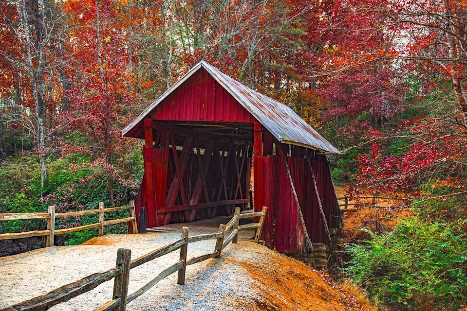 """<p><strong>Where to go:</strong> If you're looking for classic fall scenery, Campbell's Covered Bridge in Greenville County is the state's only remaining covered bridge. Paris Mountain State Park (30 minutes away) also provides plenty of leaf-peeping opportunities. </p><p><strong>When to go:</strong> <a href=""""https://southcarolinaparks.com/see-and-do/fall-foliage"""" rel=""""nofollow noopener"""" target=""""_blank"""" data-ylk=""""slk:Early November"""" class=""""link rapid-noclick-resp"""">Early November</a></p><p><a class=""""link rapid-noclick-resp"""" href=""""https://go.redirectingat.com?id=74968X1596630&url=https%3A%2F%2Fwww.tripadvisor.com%2FHotels-g54258-Greenville_South_Carolina-Hotels.html&sref=https%3A%2F%2Fwww.redbookmag.com%2Flife%2Fg34045856%2Ffall-colors%2F"""" rel=""""nofollow noopener"""" target=""""_blank"""" data-ylk=""""slk:FIND A HOTEL"""">FIND A HOTEL</a></p>"""
