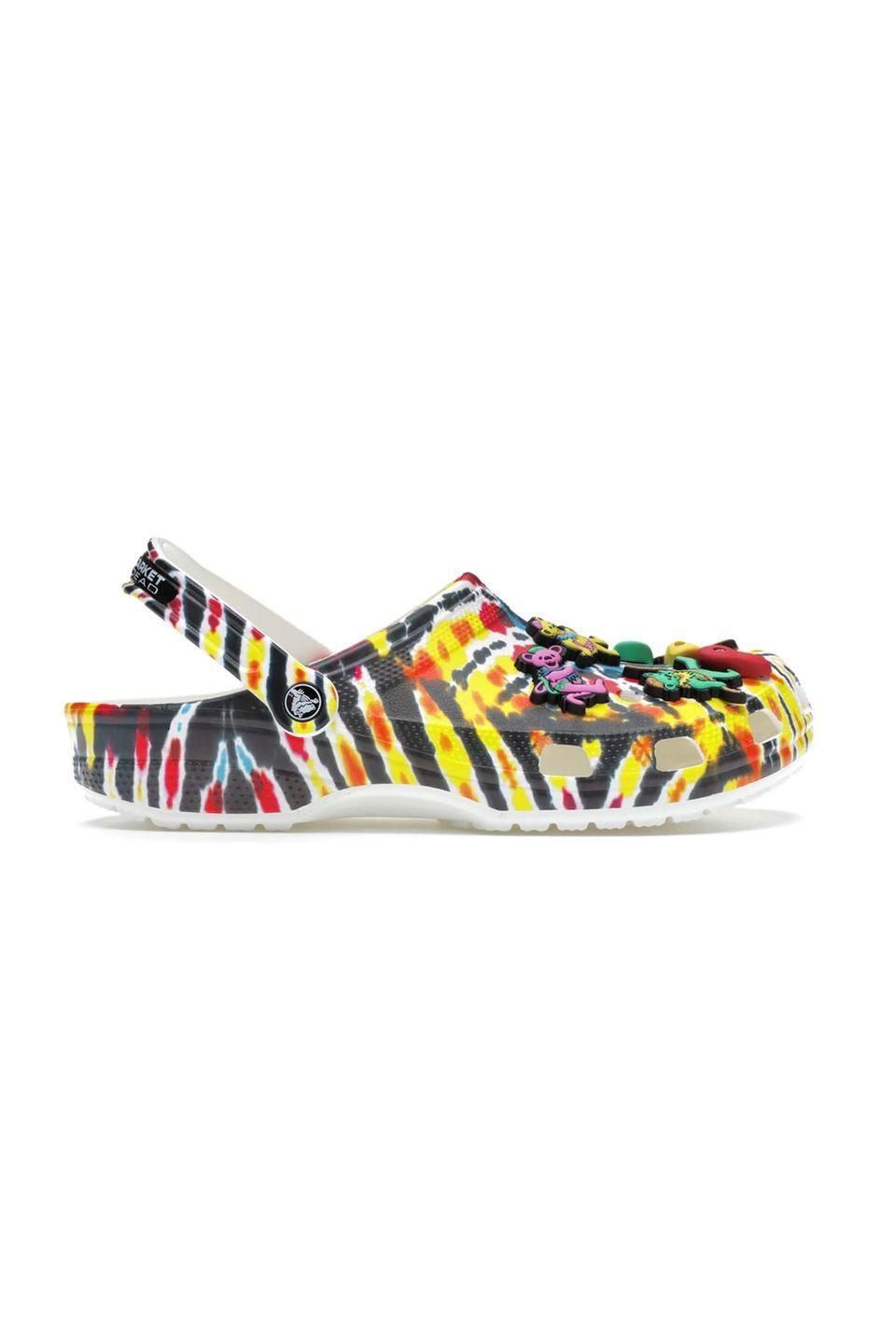 """<p><a class=""""link rapid-noclick-resp"""" href=""""https://go.redirectingat.com?id=127X1599956&url=https%3A%2F%2Fstockx.com%2Fcrocs-classic-clog-grateful-dead-x-chinatown-market&sref=https%3A%2F%2Fwww.harpersbazaar.com%2Fuk%2Ffashion%2Ffashion-news%2Fg34504089%2Fhottest-products-2020%2F"""" rel=""""nofollow noopener"""" target=""""_blank"""" data-ylk=""""slk:SHOP NOW"""">SHOP NOW</a></p><p>In ninth position is the Grateful Dead x Chinatown Market x Crocs tie-dye clogs, which generated a virtual queue of over 45,000 people hoping to buy a pair on launch day. </p><p>""""With coronavirus tearing up the rule books, the polarising resin slip-ons are having a fashion moment, with searches for Crocs up 41 per cent this quarter. Shortly after the quarter ended, Crocs announced an upcoming collaboration with Justin Bieber, giving clog lovers even more to look forward to.""""</p><p>Shoes, from £72, <a href=""""https://go.redirectingat.com?id=127X1599956&url=https%3A%2F%2Fstockx.com%2Fcrocs-classic-clog-grateful-dead-x-chinatown-market&sref=https%3A%2F%2Fwww.harpersbazaar.com%2Fuk%2Ffashion%2Ffashion-news%2Fg34504089%2Fhottest-products-2020%2F"""" rel=""""nofollow noopener"""" target=""""_blank"""" data-ylk=""""slk:Crocs Classic Clog Grateful Dead"""" class=""""link rapid-noclick-resp"""">Crocs Classic Clog Grateful Dead</a></p>"""
