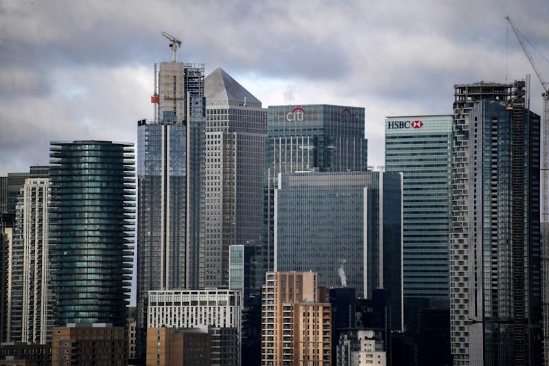 General view of the financial districts skyline of the Canary Wharf, London on November 18, 2019. (Photo by Alberto Pezzali/NurPhoto via Getty Images)