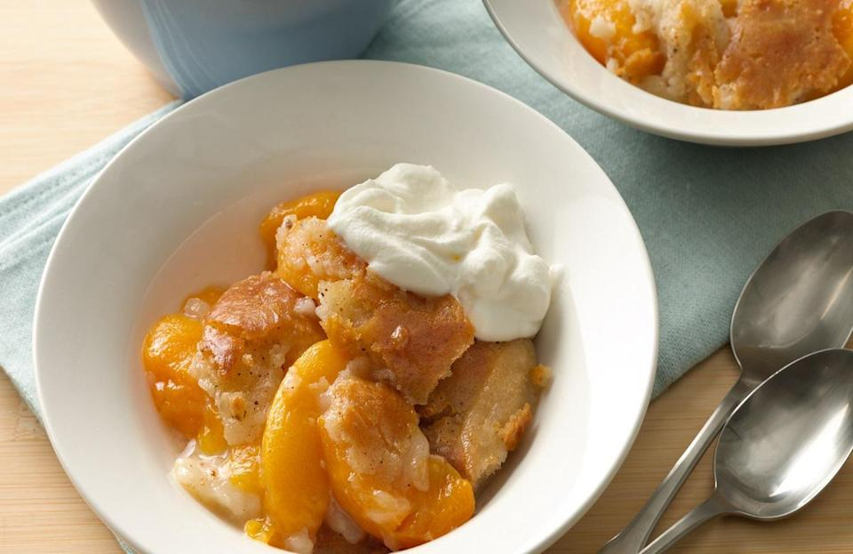 "<p>Georgia has designated the peach as its official state fruit, so a classic Southern peach cobbler is the state's most iconic dessert. Try out this decadent peach cobbler recipe, which <a href=""https://www.thedailymeal.com/cook/10-things-you-didn-t-know-you-could-make-bisquick-slideshow?referrer=yahoo&category=beauty_food&include_utm=1&utm_medium=referral&utm_source=yahoo&utm_campaign=feed"" rel=""nofollow noopener"" target=""_blank"" data-ylk=""slk:can be made using biscuit mix"" class=""link rapid-noclick-resp"">can be made using biscuit mix</a>.</p> <p><a href=""https://www.thedailymeal.com/recipes/classic-peach-cobbler-recipe?referrer=yahoo&category=beauty_food&include_utm=1&utm_medium=referral&utm_source=yahoo&utm_campaign=feed"" rel=""nofollow noopener"" target=""_blank"" data-ylk=""slk:For the Classic Bisquik Peach Cobbler recipe, click here"" class=""link rapid-noclick-resp"">For the Classic Bisquik Peach Cobbler recipe, click here</a>.</p>"