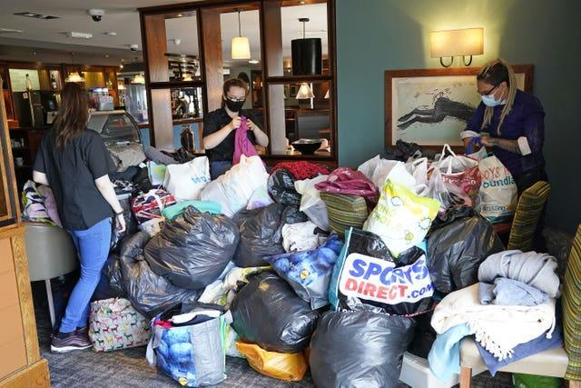 Staff arrange donations at the Hurley Flyer pub in Morecambe