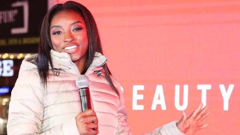 Olympic Gymnast Simone Biles appears in Times Square for SK-II Beauty Campaign on March 03, 2020 in New York City.