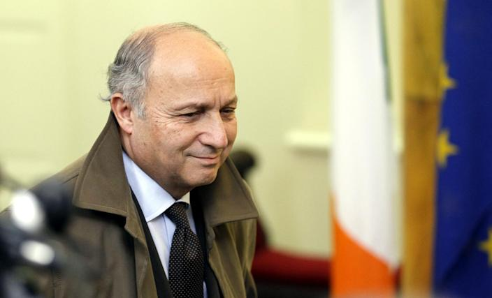 France's Minister of the foreign affairs Laurent Fabius arrives for the European Informal Meeting of Ministers for Foreign Affairs at Dublin Castle, Ireland, Friday, March 22, 2013. (AP Photo/Peter Morrison)