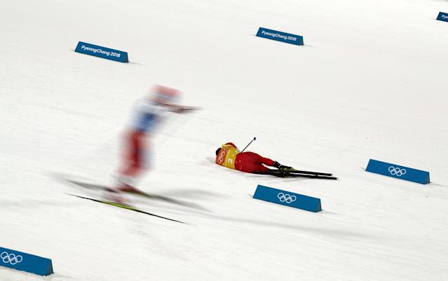 Nordic Combined Events - Pyeongchang 2018 Winter Olympics - Men's Team 4 x 5 km Final - Alpensia Cross-Country Skiing Centre - Pyeongchang, South Korea - February 22, 2018 - Go Yamamoto of Japan reacts. REUTERS/Carlos Barria