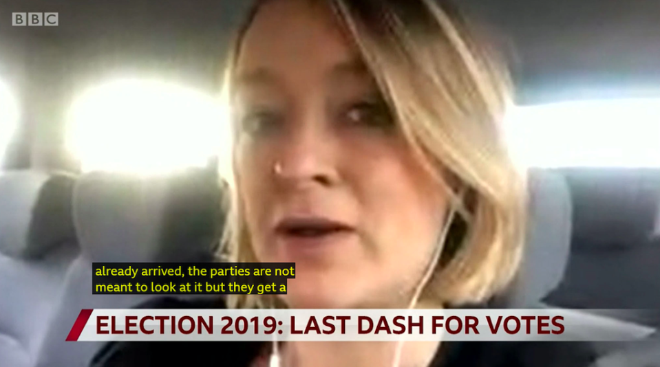 Laura Kuenssberg spoke of postal votes when asked about turnout in the election (BBC)