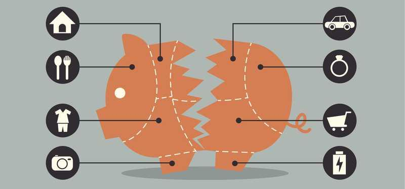 Drawing of a split piggy bank with symbols representing spending.