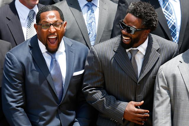 WASHINGTON, DC - JUNE 05: Linebacker Ray Lewis (L) and safety Ed Reed (R) of the National Football League Super Bowl champion Baltimore Ravens laugh while listening to U.S. President Barack Obama (not pictured) give remarks during a South Lawn ceremony on June 5, 2013 in Washington, DC. The Ravens defeated the San Francisco 49ers 34-31 in Super Bowl XLVII. (Photo by Rob Carr/Getty Images)