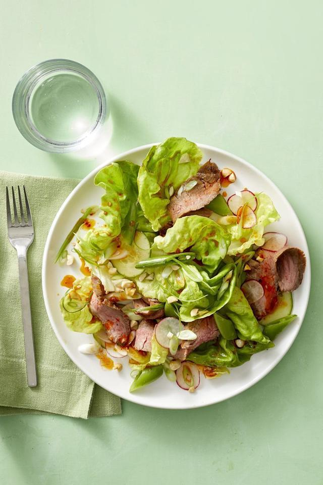 "<p>A savory soy-chile dressing with a hint of sweetness doubles as a glaze to give the steak an extra kick.</p><p><em><a href=""https://www.womansday.com/food-recipes/food-drinks/a22690559/korean-steak-salad-with-sugar-snaps-and-radishes-recipe/"" target=""_blank"">Get the recipe for Korean Steak Salad with Sugar Snaps and Radishes.</a></em><br></p>"