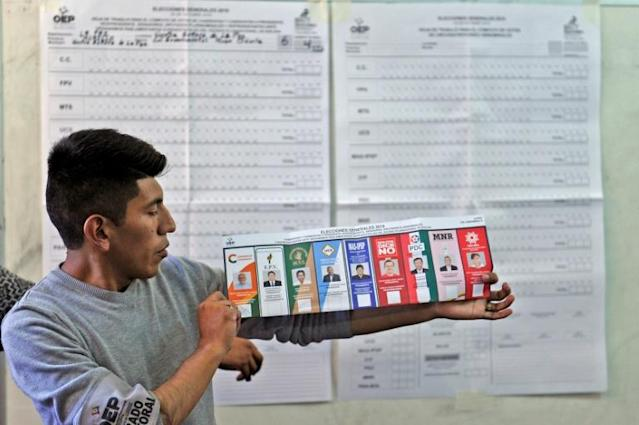 President Morales had 45 percent of the vote in the first round, the Supreme Electoral Tribunal announced, with most of the votes counted (AFP Photo/JORGE BERNAL)