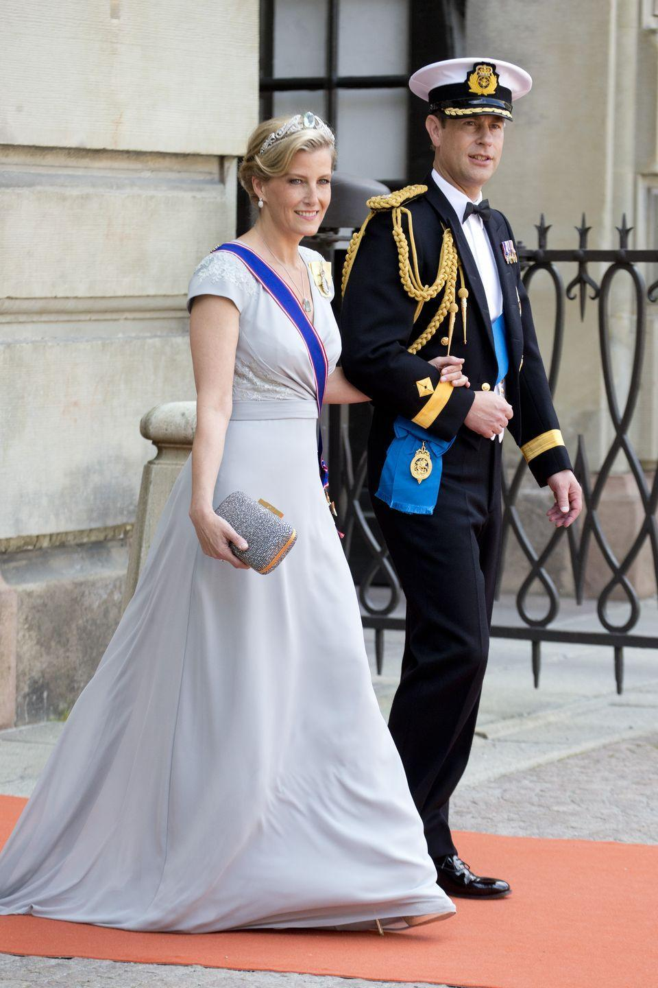 <p>The Queen's daughter-in-law wore a flowing empire-waisted evening gown to the wedding of Prince Carl of Sweden. The muted color and flowing silhouette reminds us of Aurora's second dress.</p>