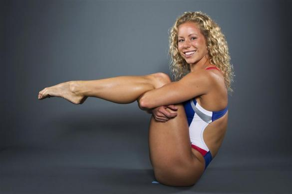 Diver Brittany Viola poses for a portrait during the 2012 U.S. Olympic Team Media Summit in Dallas, May 15, 2012.