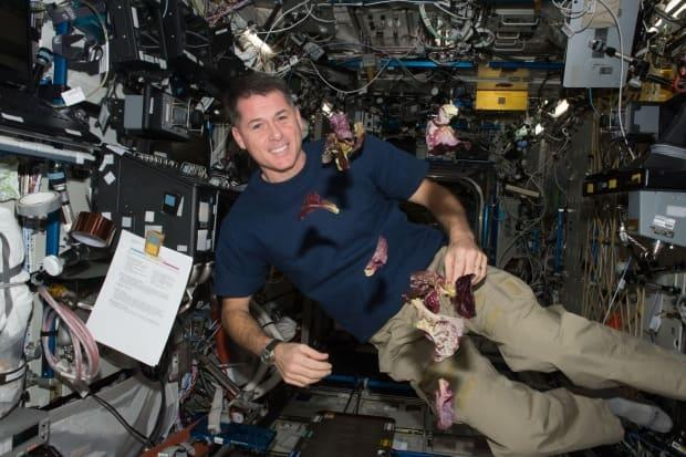 NASA astronaut Shane Kimbrough floats with red leaf lettuce on the International Space Station.
