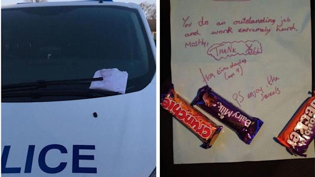Nine-year-old Eva Davies spent her Saturday delivering thank you notes and chocolate bars to police officers and NHS workers. (Chorley Police Twitter)