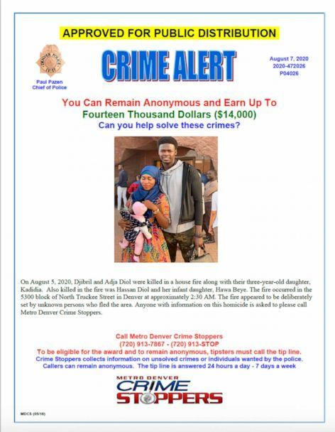 PHOTO: The Denver Police Department released this poster seeking help finding a suspected arsonist of a house fire in which five people were found dead in Denver on Aug. 5, 2020. (Denver Police Dept-handout via AP)