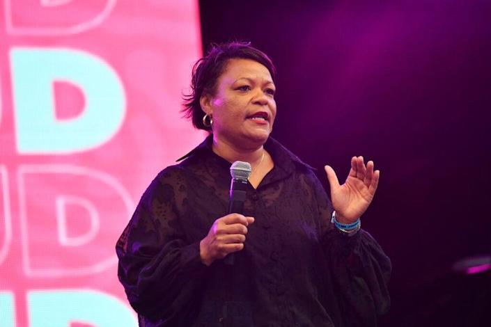 Mayor LaToya Cantrell speaks onstage at the Evening Concert Series during the 2021 ESSENCE Festival Of Culture in New Orleans, Louisiana. (Photo by Paras Griffin/Getty Images)