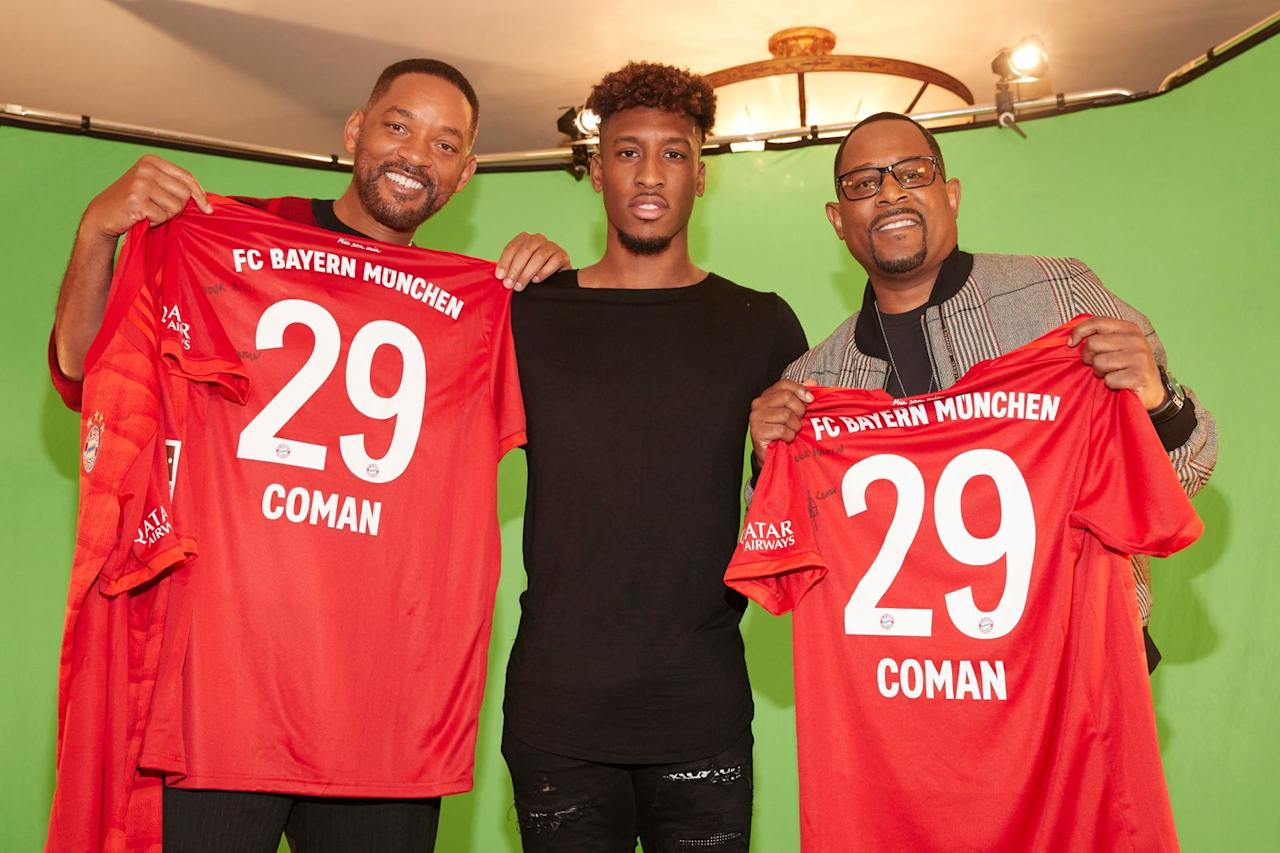 "FC-Bayern-Star Kingsley Coman (Mitte) ist gemeinsam mit Teamkollege David Alaba (nicht im Bild) in der Actionfilm-Fortsetzung ""Bad Boys For Life"" (mit Will Smith, links, und Martin Lawrence) zu sehen."