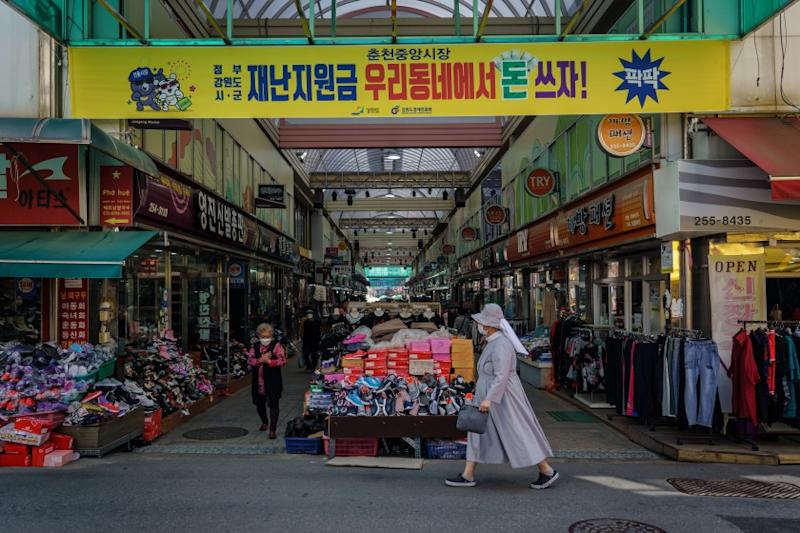 CHUNCHEON, SOUTH KOREA -- SUNDAY, MAY 31, 2020: It's a slow business day at Jungang Market, in Chuncheon, South Korea, on May 31, 2020. (Marcus Yam / Los Angeles Times)