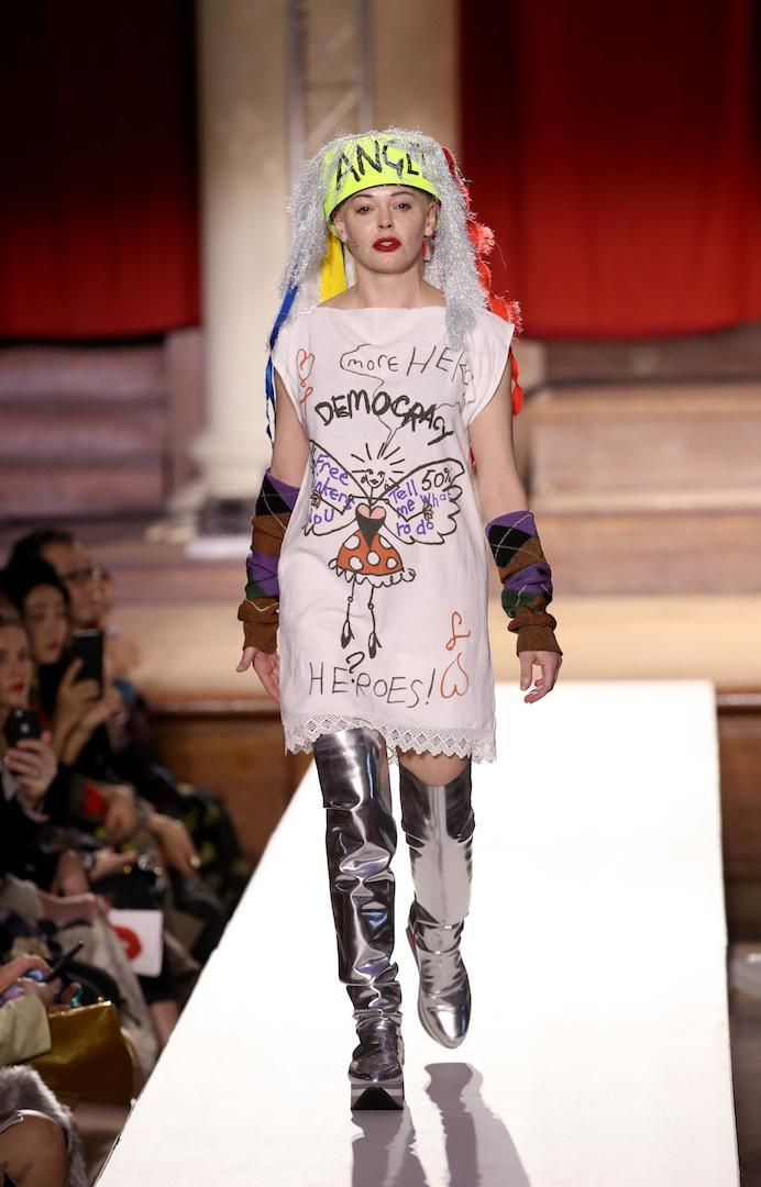 <p>Actress-turned-activist Rose McGowan led a group of Green Peace activists at the Vivienne Weswtood show during London Fashion Week. <em>[Photo: Getty]</em> </p>