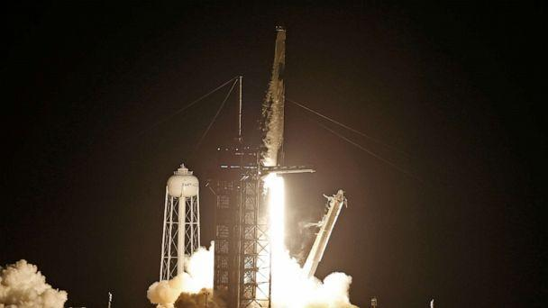 PHOTO: A SpaceX Falcon 9 rocket, with the Crew Dragon capsule, is launched carrying four astronauts on a NASA commercial crew mission at Kennedy Space Center in Cape Canaveral, Fla., Sept. 15, 2021.  (Thom Baur/Reuters)
