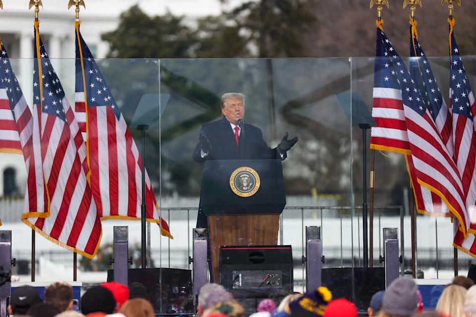 "US President Donald Trump speaks at the ""Save America March"" rally in Washington DC on January 6 before the siege. Source: Getty"