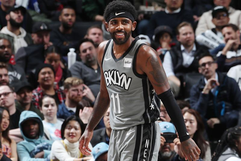 BROOKLYN, NY - NOVEMBER 4: Kyrie Irving #11 of the Brooklyn Nets looks on during the game against the New Orleans Pelicans on November 4, 2019 at Barclays Center in Brooklyn, New York. NOTE TO USER: User expressly acknowledges and agrees that, by downloading and or using this Photograph, user is consenting to the terms and conditions of the Getty Images License Agreement. Mandatory Copyright Notice: Copyright 2019 NBAE (Photo by Nathaniel S. Butler/NBAE via Getty Images)