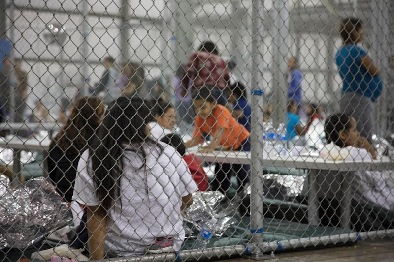 Unauthorized immigrants detained at a center in McAllen, Texas, in a photo provided by U.S. Customs and Border Protection. A top Mexican official said a girl with Down syndrome was being held there.