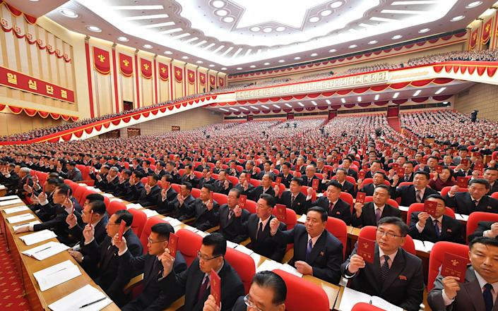 Delegates attend the 8th Congress of North Korea's ruling Workers' Party - KCNA/AP