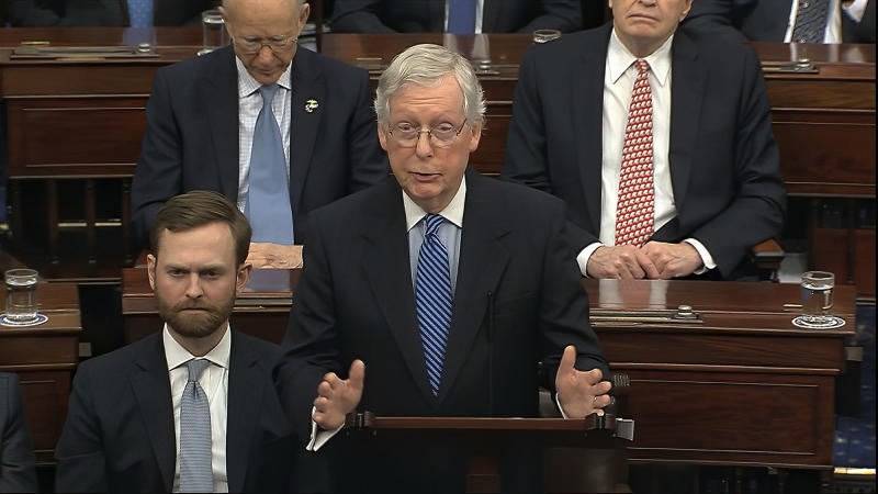 Senate Majority Leader Mitch McConnell speaks on the Senate floor about the impeachment trial against President Donald Trump in February.
