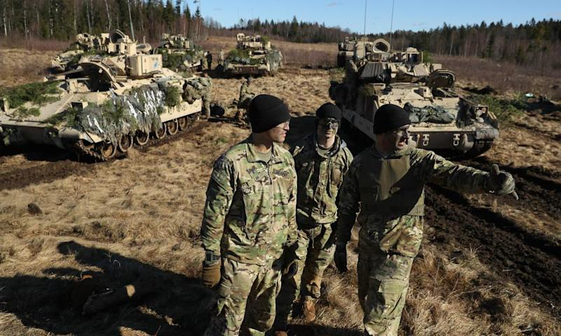 US troops of the 4th Infantry Division, after taking part in exercises in Tapa, Estonia, on 23 March under the Nato-led Operation Atlantic Resolve.