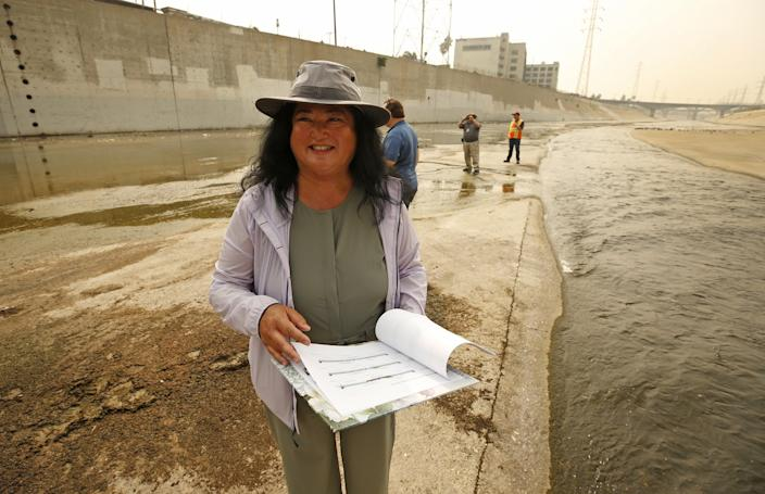 Wendy Katagi leads a group of biologists, engineers and LA City Hall officials as they do field work