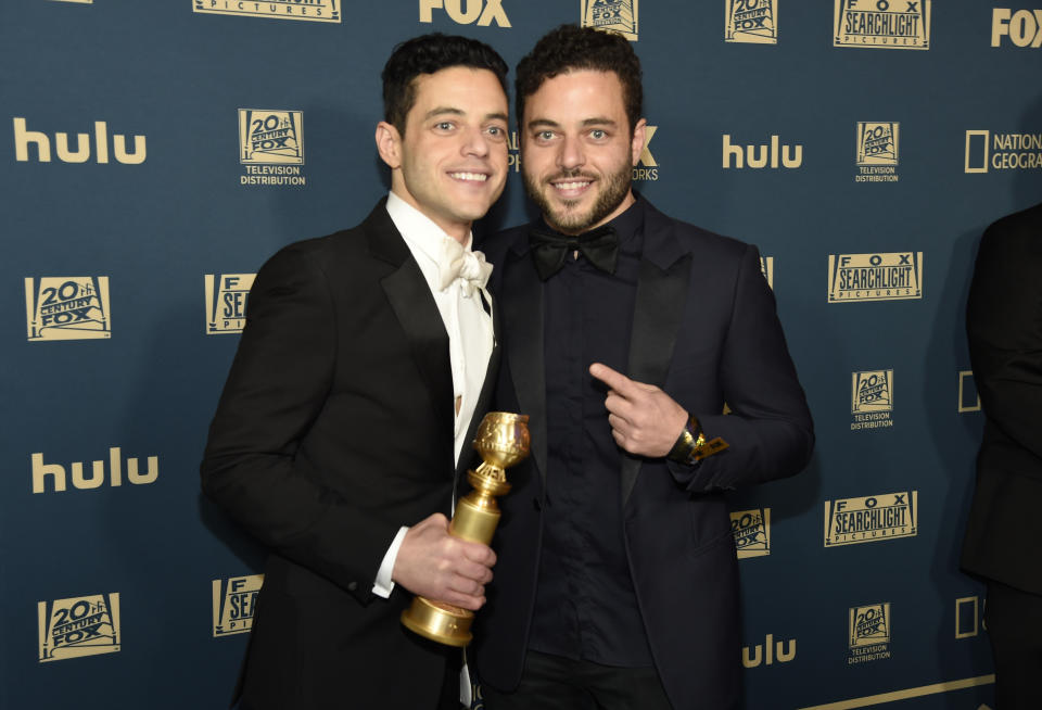 Rami Malek, left, and Sami Malek arrive at the Fox afterparty at the Beverly Hilton Hotel on Sunday, Jan. 6, 2019, in Beverly Hills, Calif. (Photo by Chris Pizzello/Invision/AP)