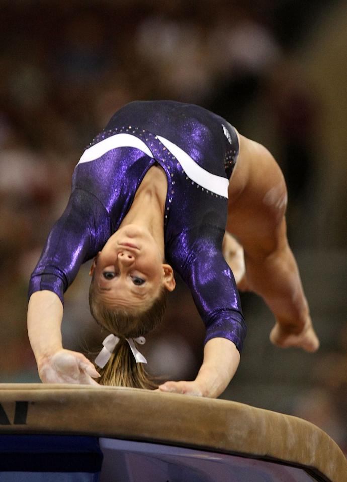 Shawn Johnson competes on the vault during day four of the 2008 U.S. Olympic Team Trials for gymnastics at the Wachovia Center on June 22, 2008 in Philadelphia, Pennsylvania.