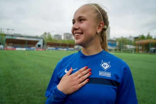 Olga Belousova takes part in a training session at the Chertanovo club in Moscow