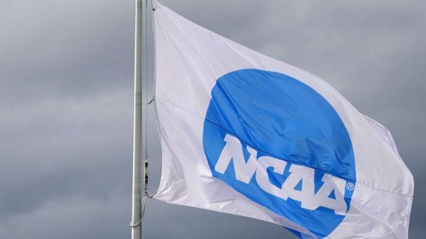 PHOTO: An NCAA logo flag at the NCAA Track and Field Championships at Hayward Field in Eugene, Ore., in this Jun 11, 2021 file photo.  (Kirby Lee-USA Today Sports via Reuters, FILE)