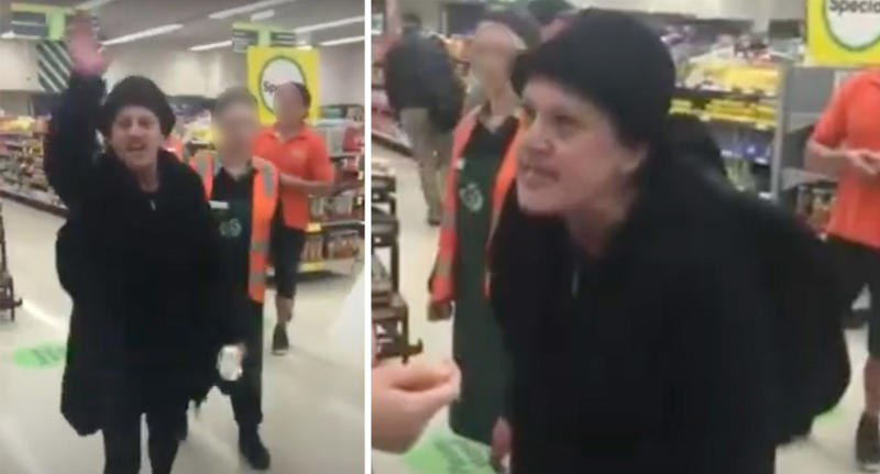 Pictured is a woman in Woolworths verbally abusing customers.
