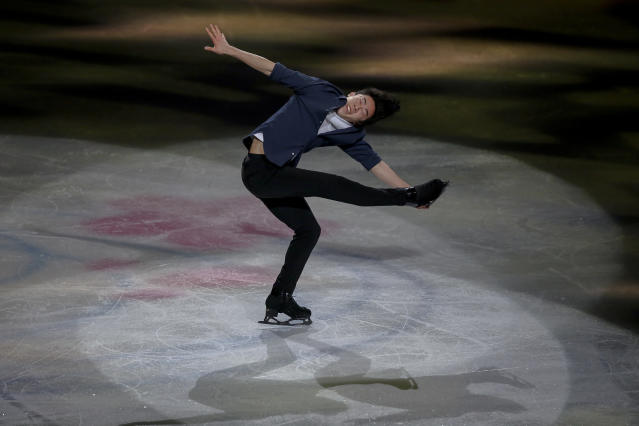 FILE - In this March 24, 2019, file photo, Nathan Chen from the United States performs during the gala exhibition for the ISU World Figure Skating Championships at Saitama Super Arena in Saitama, north of Tokyo. Chen, master of the quad, is on the verge of skating off with his fourth consecutive title at the U.S. Championships this week. (AP Photo/Annice Lyn, File)