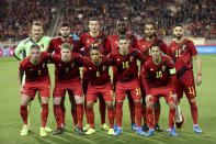 Belgium players pose before the Euro 2020 group I qualifying soccer match between Belgium and Cyprus at the King Baudouin stadium in Brussels, Tuesday, Nov. 19, 2019. (AP Photo/Francisco Seco)