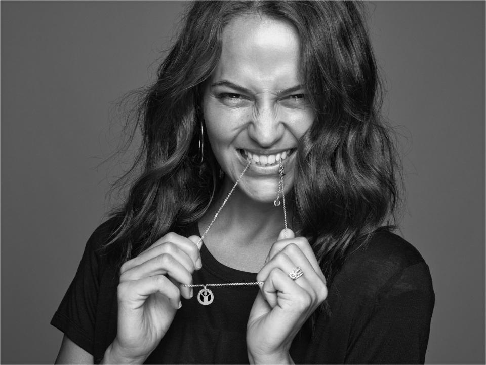 Alicia Vikander poses for the #GiveHope by Bvlgari and Save the Children campaign.