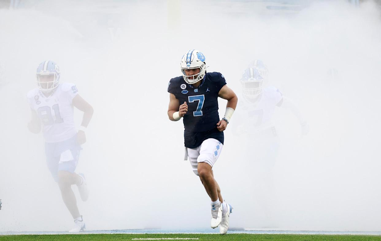 North Carolina QB Sam Howell has the talent and toughness to be the first quarterback drafted in 2022. (Photo by Grant Halverson/Getty Images)