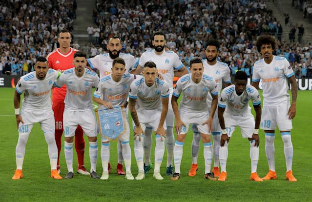 Soccer Football - Europa League Semi Final First Leg - Olympique de Marseille vs RB Salzburg - Orange Velodrome, Marseille, France - April 26, 2018 Marseille players pose for a team group photo before the match REUTERS/Eric Gaillard