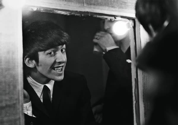 "<div class=""caption-credit""> Photo by: Harry Benson</div><div class=""caption-title"">George Harrison</div>Says Benson: ""They hammed it up for the press, but since I have spent so much time with them I could capture more intimate moments; they forgot the pressure of the camera."""