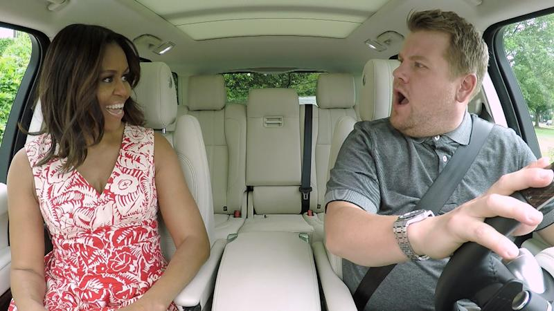 """The First Lady Michelle Obama joins James Corden for Carpool Karaoke on """"The Late Late Show with James Corden,"""" Wednesday, July 20th 2016 (12:37-1:37 AM, ET/PT) on The CBS Television Network. (Photo by CBS via Getty Images)"""