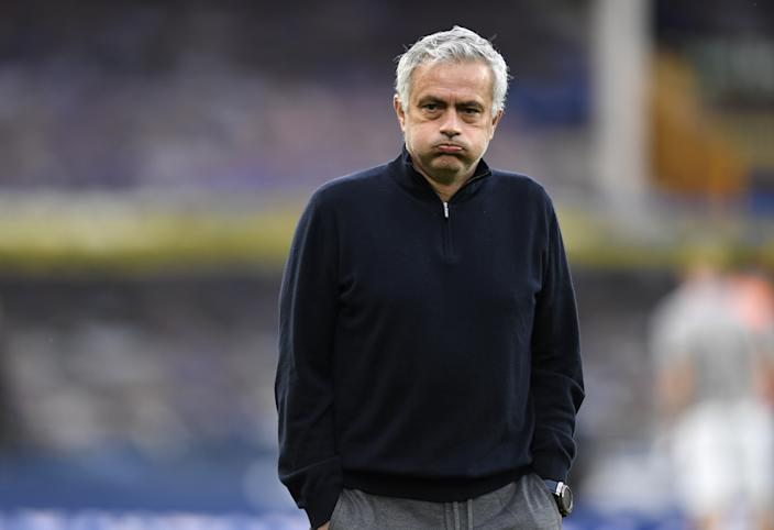Tottenham Hotspur manager Jose Mourinho during the warm up before the Premier League match at Goodison Park, Liverpool. Picture date: Friday April 16, 2021. (Photo by Peter Powell/PA Images via Getty Images)